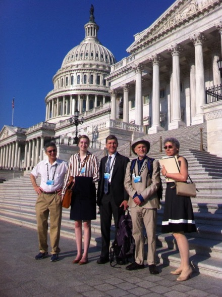 ICCA volunteers Maria McCoy, Jamie McCoy, Peter Rolnick and Barbara Eckstein in front of the US Capital, getting ready for a day of lobbying with our members of Congress. On the left is Des Moines CCL volunteer Steve Shivers.