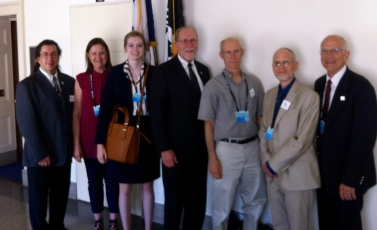 CCL volunteers meet with Congressman Dave Loebsack. From left to right: Tomie Evans (Minnesota), Cindy Lineafelter (Minnesota), Maria McCoy (Iowa City), Congressman Loebsack, John Macatee (Iowa City), Peter Rolnick (Iowa City), Lee Morgan (Minnesota).