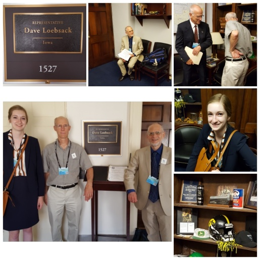 A collage of photos of CCL volunteers in Congressman Loebsack's Washington DC office, including (lower left) ICCA volunteers Maria McCoy, John Macatee and Peter Rolnick.